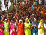 Women marching during a rally in Delhi, 2011