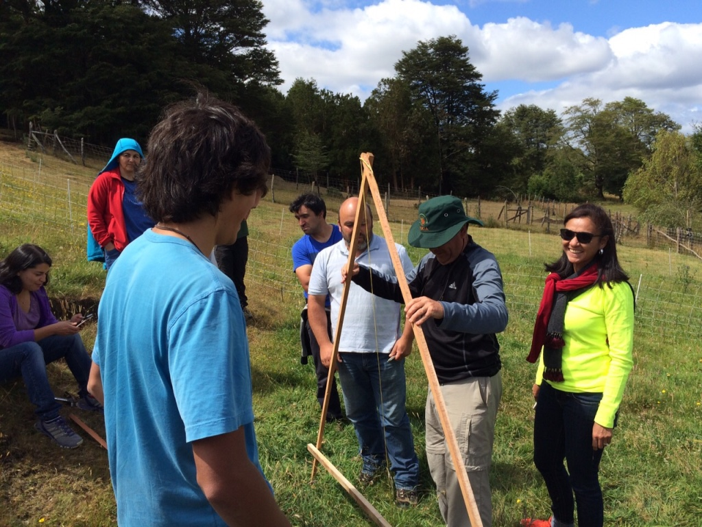 Teaching students how to use the A frame to mark contours on a hill side in Chiloe, Chile.